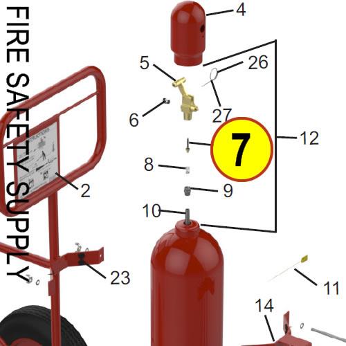 Amerex 09897 Valve Stem Assembly Carbon Dioxide Wheeled Unit Nitrogen