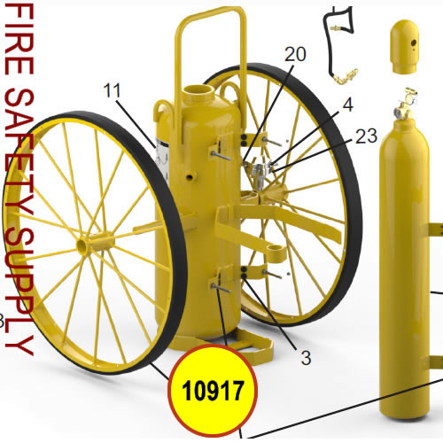 Amerex 10917 Wheel Assembly 36 X 2.5 Rubber Yellow