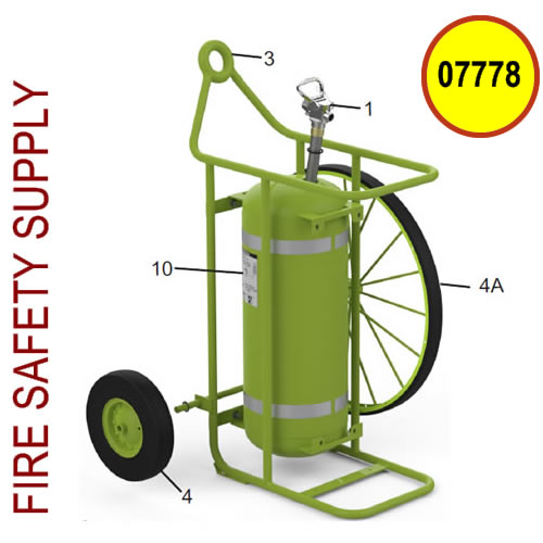 Amerex 07778 Wheel Assembly 16.0 Green Semi-Pnuematic with Hardware