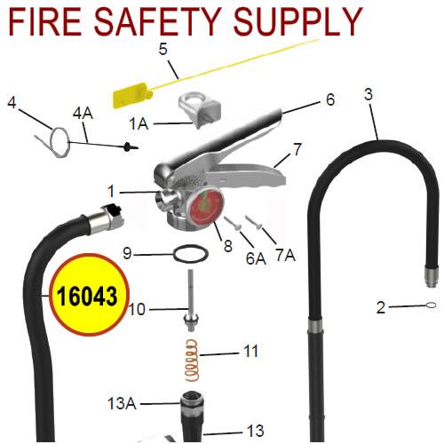 Amerex 16043 Hose Assembly 10.0 Nozzle Wet Chemical 6 L