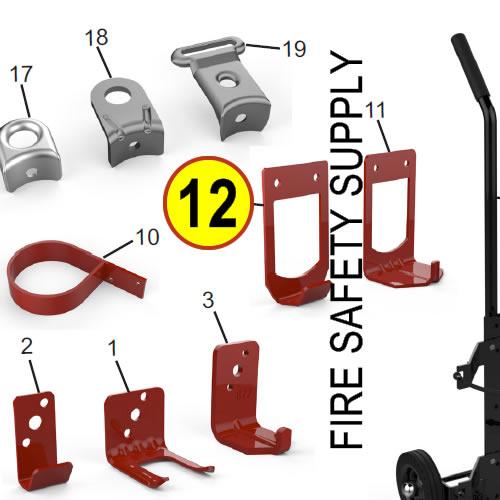 Amerex 16537 Bracket Cart Adapter Brass Valve Red
