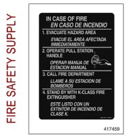 417459 Fire Emergency Nameplate (Spanish/English)