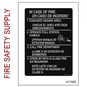 Ansul 417459 Fire Emergency Nameplate