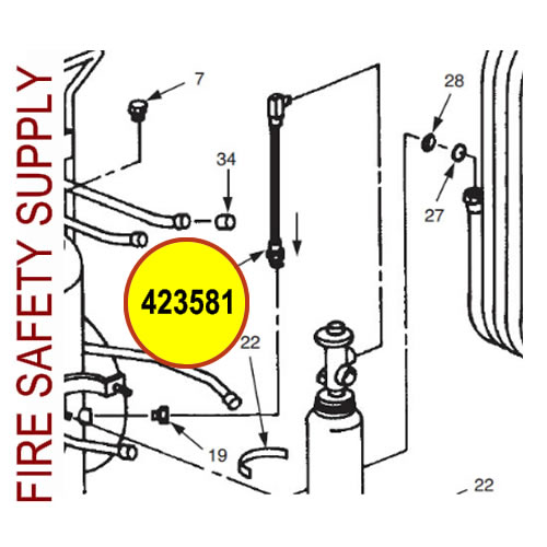 Ansul 423581 Hose and Adaptor Assembly, 18 3/8 in.