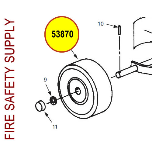 Ansul 53870 Wheel, 16 in., 150-D Semi-Pneumatic, CR