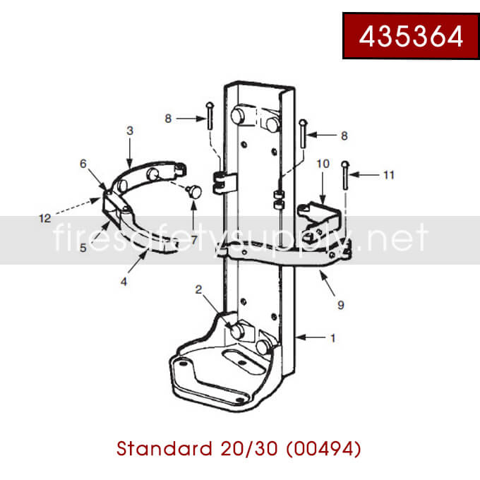 Ansul 435255 RED LINE 30 lb. Bracket with Ring Pin