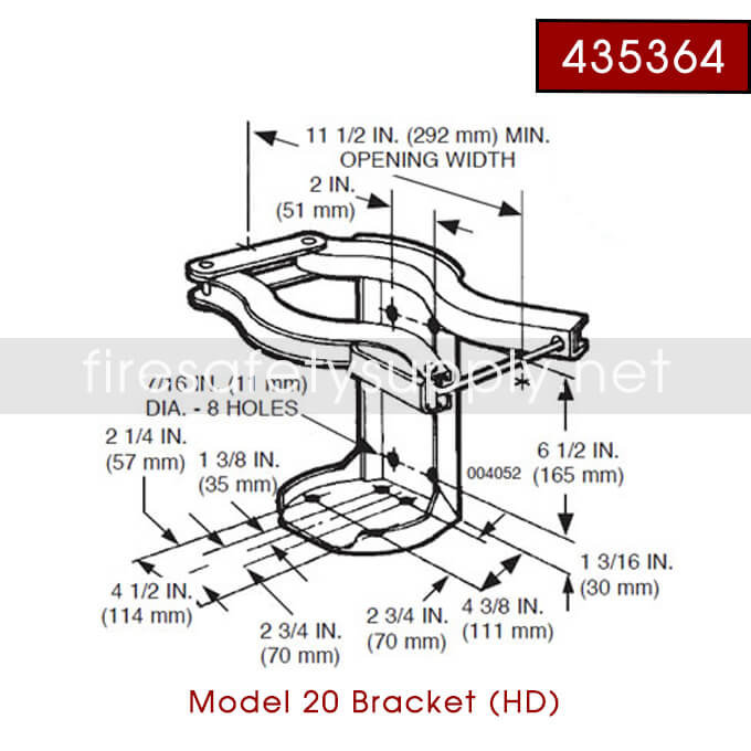Ansul 435364 RED LINE 20 lb. Bracket with Ring Pin
