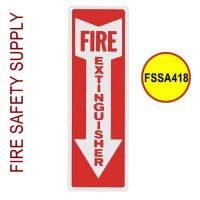 FSSA418 Fire Extinguisher sign, Vinyl Sticker, 4 Inch x 18 Inch