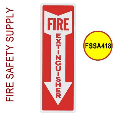 "Arrow-417 - Fire Extinguisher sign, Vinyl, 4"" x 18"""