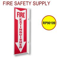 Fire Signage RP90109 4 Inch x 18 Inch Rigid Plastic 90 Degree