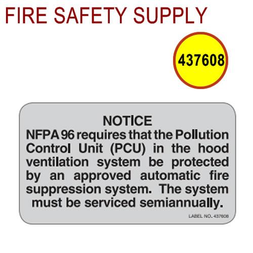 Ansul 437608 PCU Notice Label (R-102 and Piranha)
