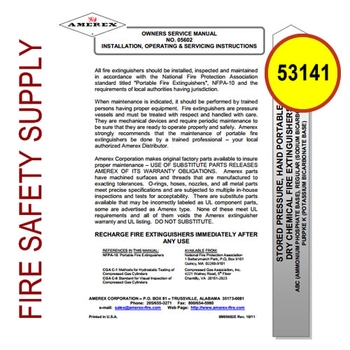 Ansul 53141 Wheeled Extinguisher Regulator Test Manual