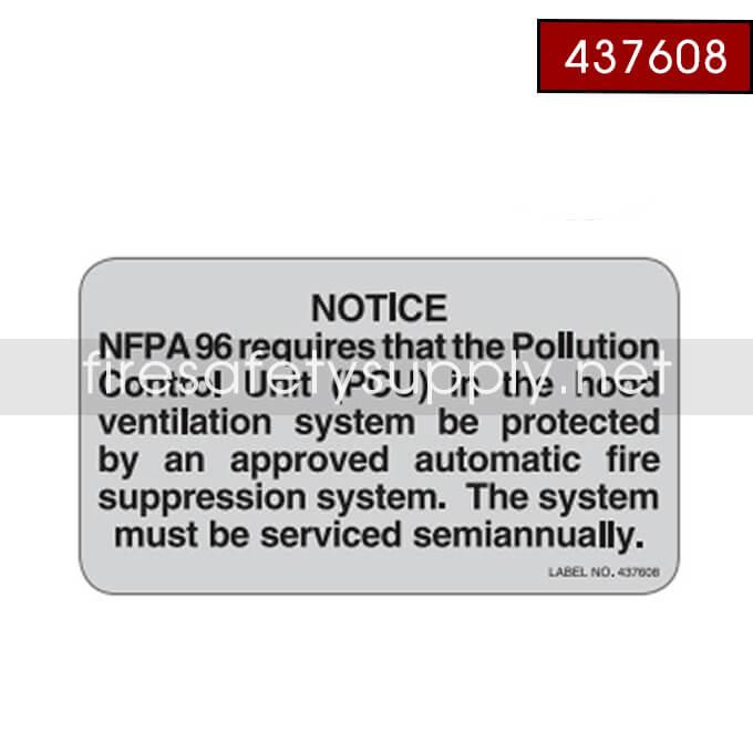 Ansul 437608 PCU Notice Label