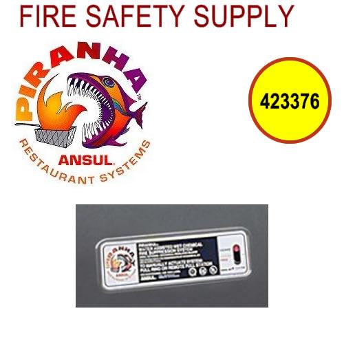 Ansul 423376 System Identification Stickers, PIRANHA (ANSUL AUTOMAN)