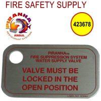 Ansul PIRANHA 423678 - Water Supply Valve I.D. Tag, 10/package (pkg. price)