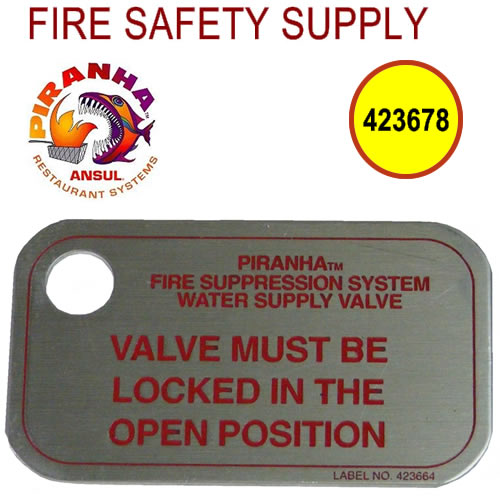 Ansul 423678 Water Supply Valve I.D. Tag, PIRANHA, 10/package (pkg. price)