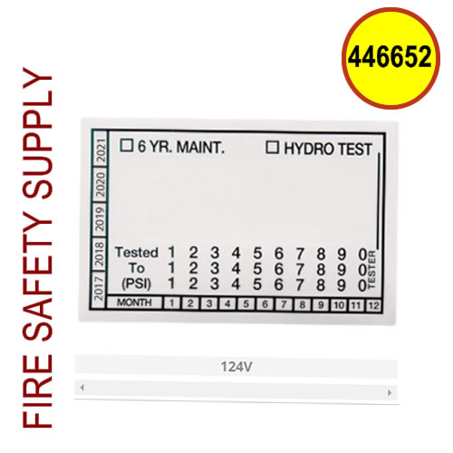 Ansul 446652 - Hydro Test Label (100 per sheet)