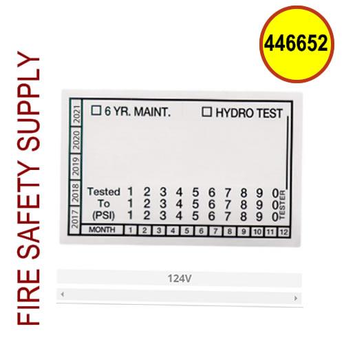 Ansul 446652 - Hydro Test Label (100 per sheet)
