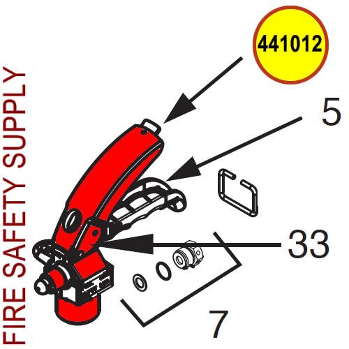 Ansul 441012 Brass CO2 push lever Wheeled Extinguisher