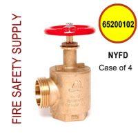 """65200102-NYFD - FIRE HOSE ANGLE VALVE 2-1/2"""" NYFD THREAD 3.030 X 8 - Case of 4"""