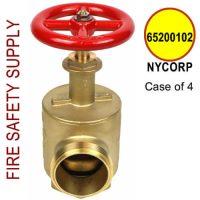 """6520010-NYCORP - FIRE HOSE ANGLE VALVE 2-1/2"""" NY CORP THREAD 3.00 X 8TPI - Case of 4"""