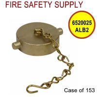 6520025ALB2 - FIRE HOSE CAP & CHAIN 1-1/2 Inch NST ALUM BRASS - Case of 153