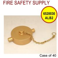 6520030ALB2 - FIRE HOSE CAP & CHAIN 2-1/2 Inch NST ALUM BRASS - Case of 40