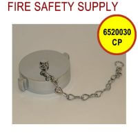 6520030CP - FIRE HOSE CAP And CHAIN 2-1/2 Inch NST BRASS CHROME PLATE
