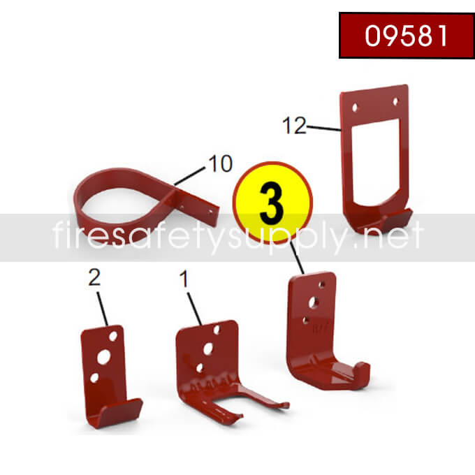 Amerex 09581 Bracket Wall 876 30 Dry Chemical Red