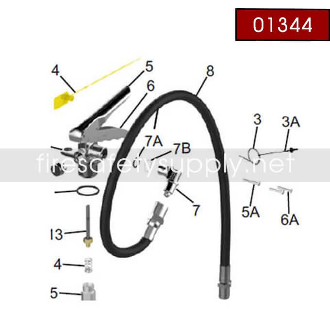 Amerex 01344 Hose Assembly 1/2 BR .216