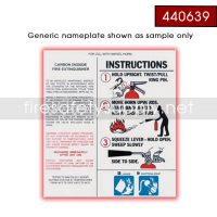 Ansul 440639 Nameplate, Replacement w/o UL/ULC PK20