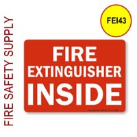 "FEI43 3""x5"" Red on White ""Fire Extinguisher Inside"""