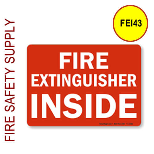 """FEI43 3""""x5"""" Red on White """"Fire Extinguisher Inside"""""""