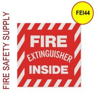 "FEI44 4""X4"" Striped White on Red Fire Extinguisher Inside"""