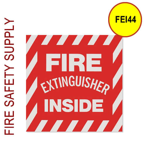 """FEI44 4""""X4"""" Striped White on Red Fire Extinguisher Inside"""""""