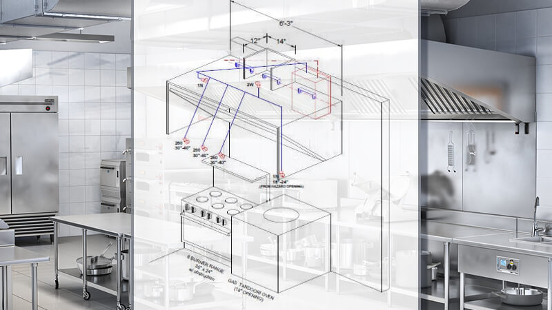commercial kitchen with fire system drawing placed on top of photo