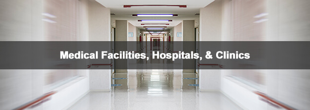 hospital hallway with caption Medical Facilities, Hospitals, & Clinics