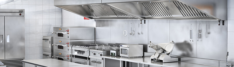 fire system above stove of commercial kitchen for restaurant