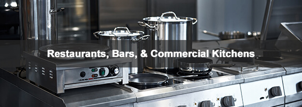 restaurant kitchen with caption Restaurants, Bars, & Commercial Kitchens