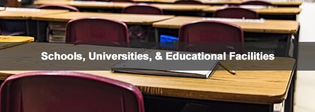 school desk with caption Schools, Universities, & Educational Facilities