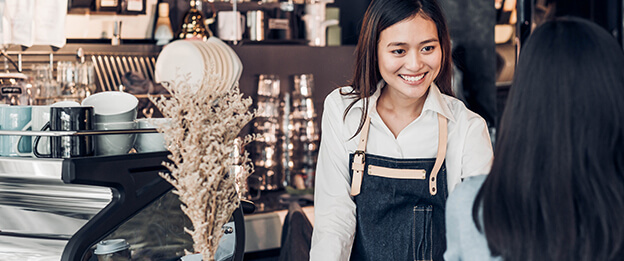 cafe attendant in small business setting