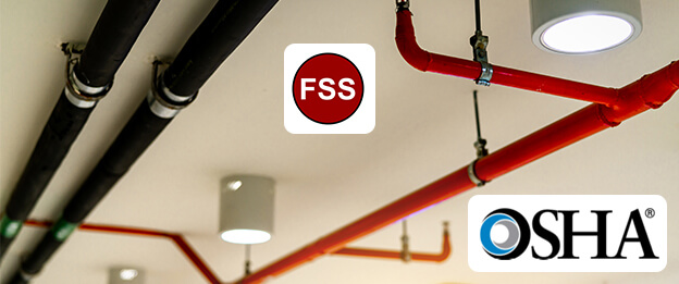 safety fire system on ceiling with logos for FSS and OSHA