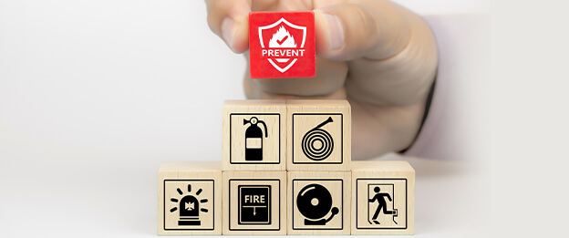 Cubes representing fire safety and prevention